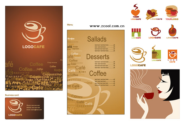 Matériel d'objet vectoriel café