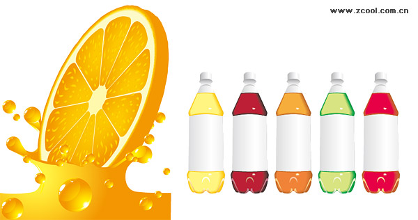 Garrafas de suco de laranja e material de vetor vazio