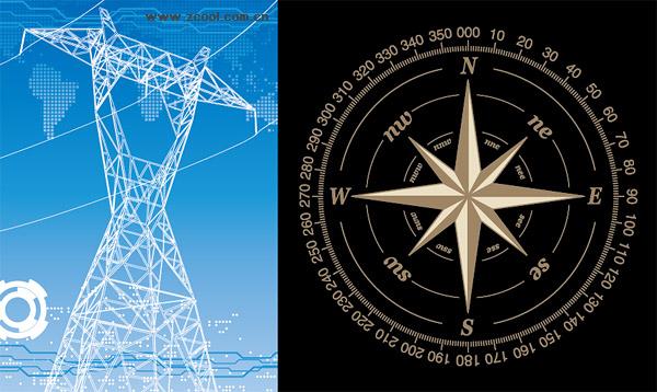 Racks de fios de alta tensão e material de vetor bússola