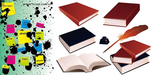 Notas de tinta punto de libros, material de vectores