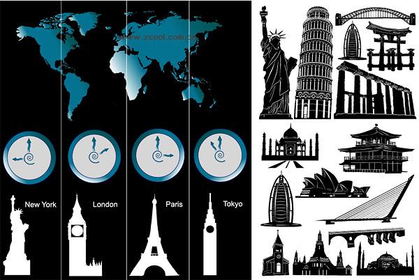 Arquitectura de renombre mundial y la zona horaria de material de vectores
