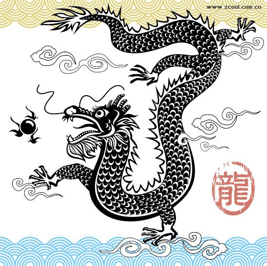 มังกรจีนขาวดำเวกเตอร์วัสดุ