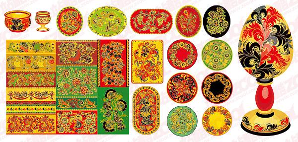 28 padrão clássico vector material e recipientes