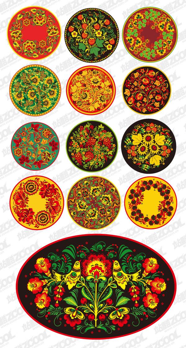 Serie material de vector de patrón clásico -2 - patrón circular