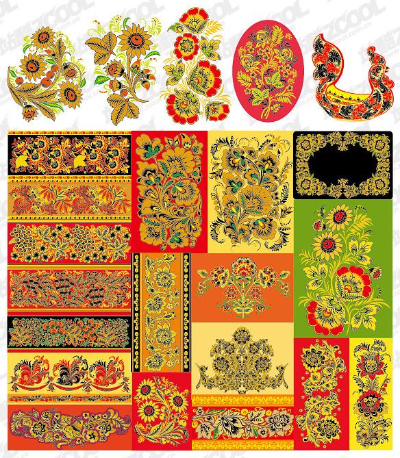 Serie material de vector de patrón clásico -5 - patrón de encaje