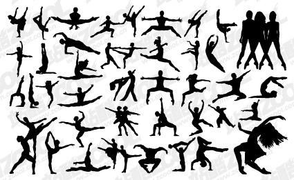 Variedad de vectores de material de danza de silueta de personas