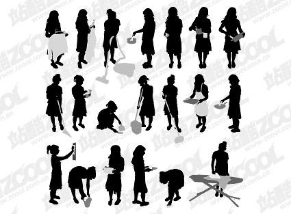 Figurines matériel de travaux ménagers silhouette vecteur
