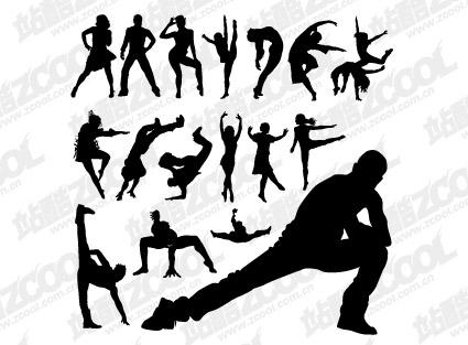 Gente silueta danza mueve material de vectores