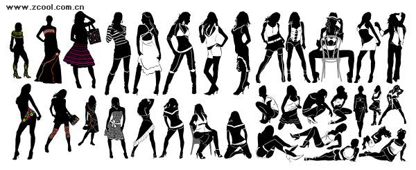 แฟชั่นผู้หญิงรูปเงาดำเวกเตอร์วัสดุที่หลากหลาย