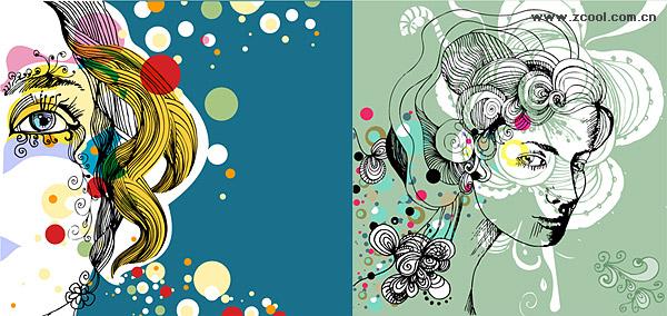 la tendance du matériel de vector illustrator femelle