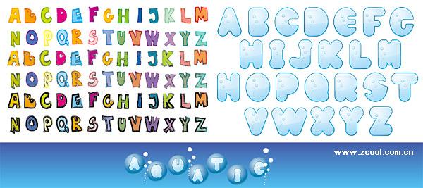 ตัวอักษรที่น่ารักของวัสดุเวกเตอร์อักษร