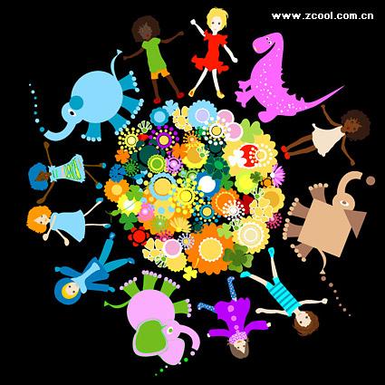 Flores animales niños vector de material