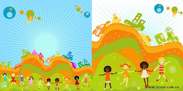 Diversión para niños 2 illustrator vector de material