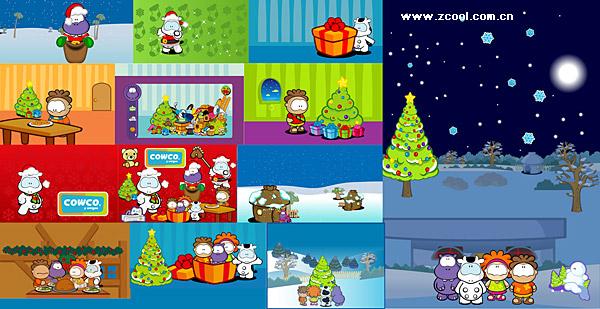 material de tema de vectores de dibujos animados lindo caracteres Cowco Navidad