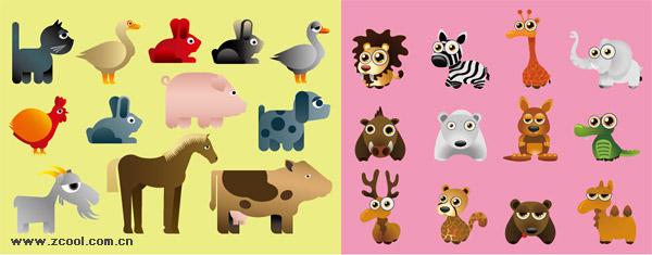 様々 な漫画動物のベクター素材