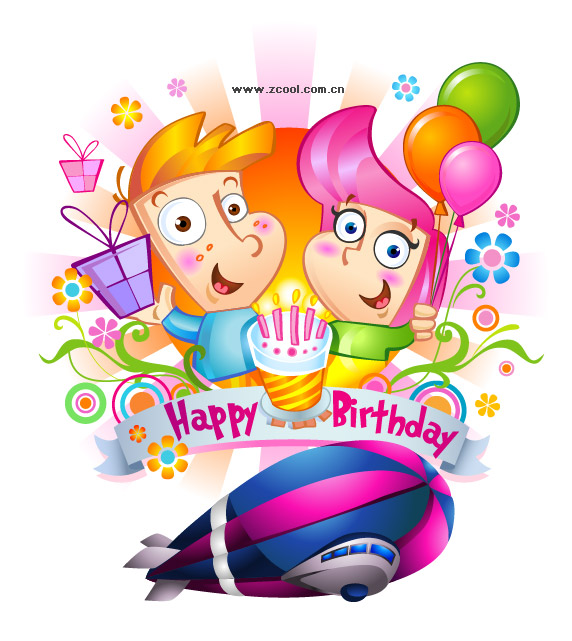 Feliz cumpleaños infantil Vector de material