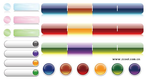 Crystal decorativo botões página material de vetor de ícone