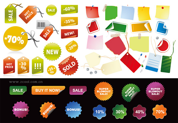 Sales price vector decorative material