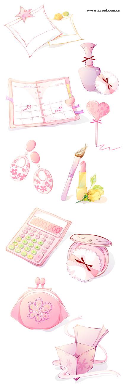 Женщины розовый значок векторного материала-2