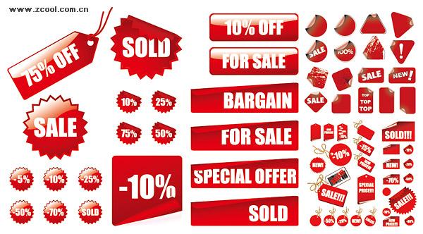 Precio de venta de materiales de decoración roja de vectores