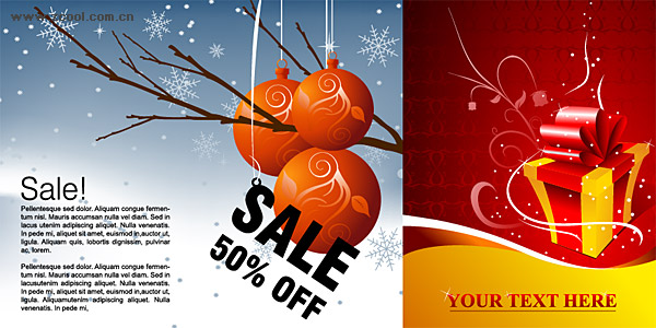 Winter discount sales and present pattern vector material