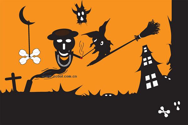 Material de vectores de fantasma de Halloween