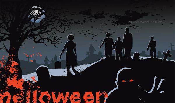Material de vectores de fantasma de cementerio de Halloween