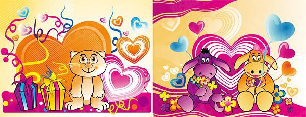 Le thème du matériel de vecteur pour le dessin animé amour