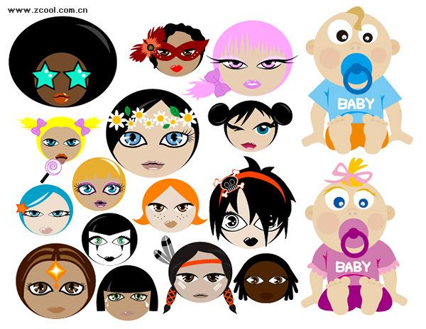 Personajes de dibujos animados lindo vector de material