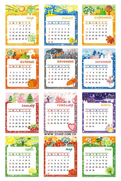 Прекрасный календарь шаблон векторного материала