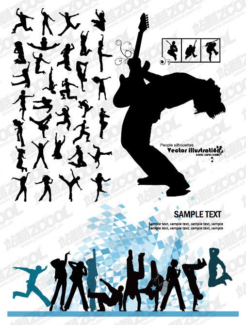 La tendance de la musique et la danse figures silhouette vecteur matériel