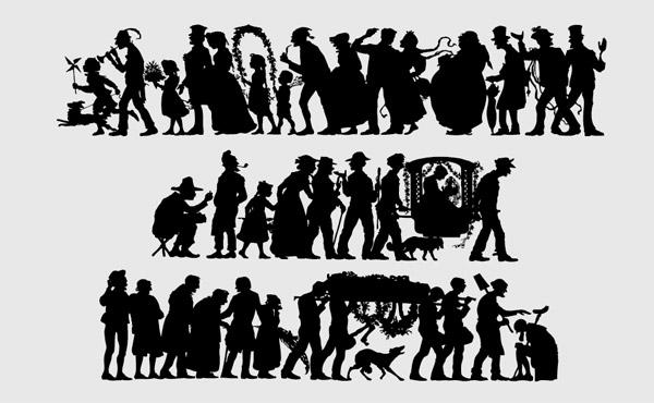 Matériel classique de gens silhouette vecteur