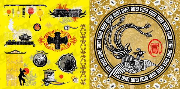 Phoenix китайских традиционных элементов векторного материала