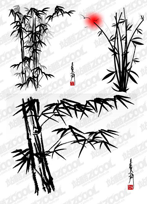 Materiales de bambú de tinta de vectores