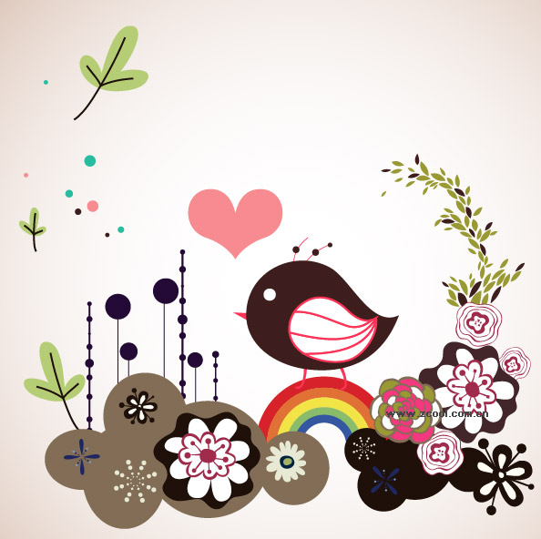 Flowers vector illustration cute birdie material