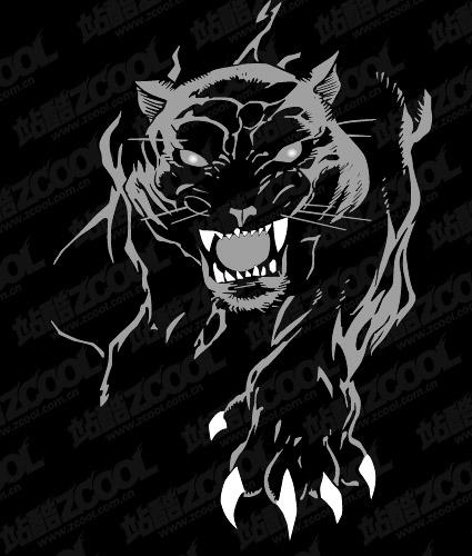 Свирепый пантера векторный материал