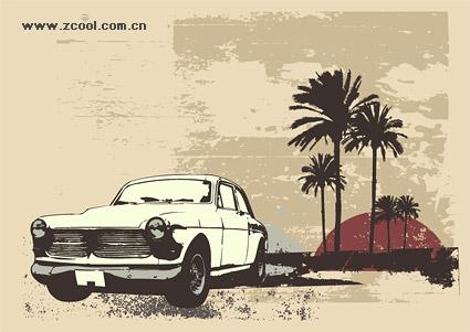 Material de vectores de coche de coco árbol estilo retro