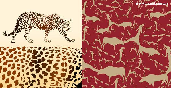 Вектор фон Леопард и животных материалов