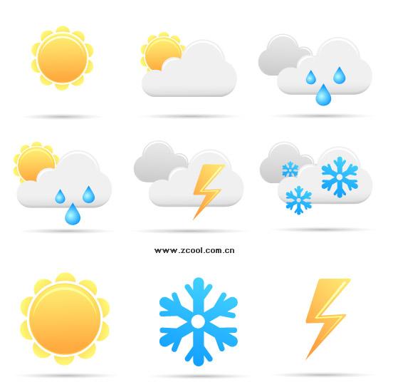 간단한 날씨 아이콘 벡터 소재
