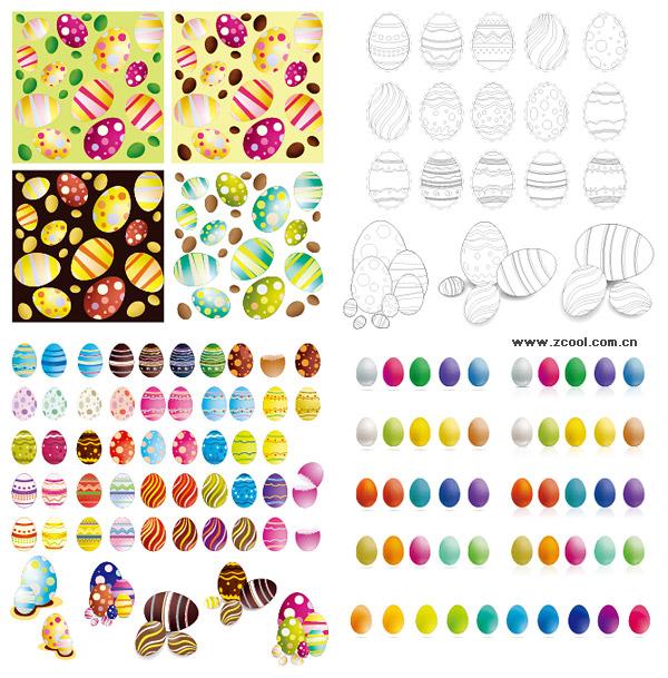 Пасхальные яйца вектор различных материалов