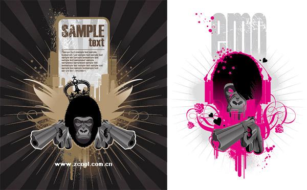El tema del material de orangután de ilustraciones de vectores de tendencia