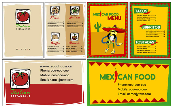 VI restaurante plantilla simple vector de material