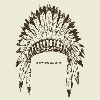 Material de vector de sombrero tribales antiguos