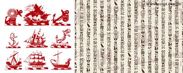 Material de fondo de los buques y la lengua clásica del vector clásica