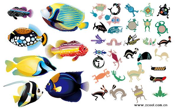 Peixe animal vetor realista e abstrata material