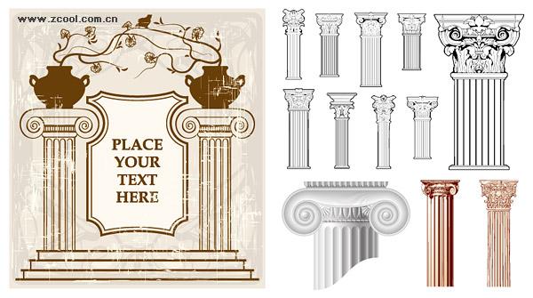 Eropa-gaya klasik kolom pola vektor bahan