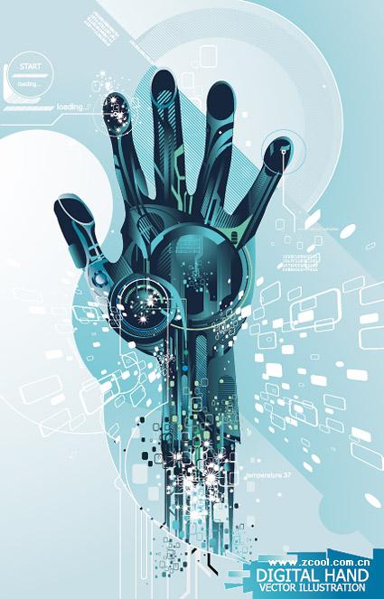 Las manos de material de alta tecnología de vectores
