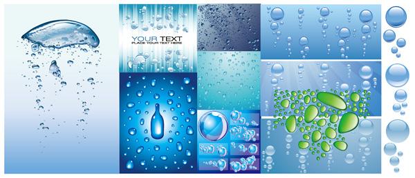 Variedade de material de apoio de vetor de água