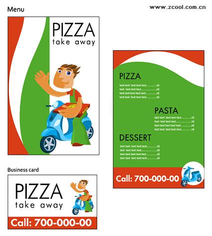 ピザ ショップ ベクター画像の単純なテンプレート素材