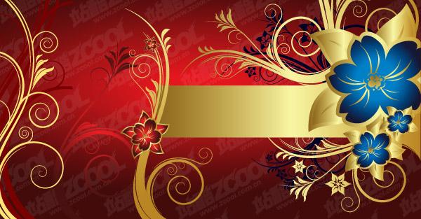 Material de vetor de padrão de Linda flor dourada